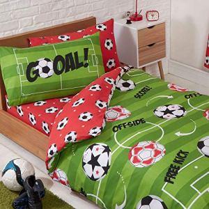 PriceRightHome Completo Copripiumino e Federa da Calcio Rosso Singolo