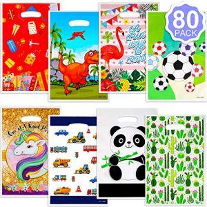 Qpout 80 Pezzi Sacchetti Regalo per Feste plastica Unicorno Dinosauro Fenicottero Panda Calcio Auto Sacchetti di Caramelle per Bambini Compleanno Matrimonio Carnevale Unicorno Festa Giveaway Decor
