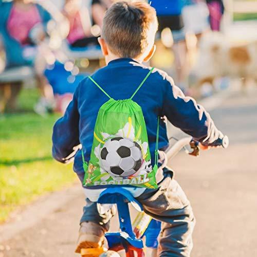 Qpout Borse da Calcio 12PCS Borse con Coulisse Zaino da Calcio per Bambini Bomboniere per Feste di Compleanno Forniture Goodie Bags per Bambini Ragazze Ragazzi Bambini