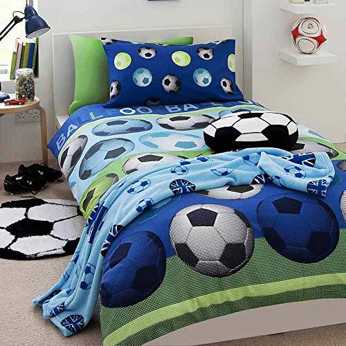 Set copripiumino per letto singolo motivo calcio colore blu