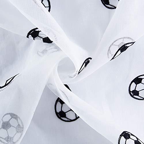 Topfinel Voile Tenda da Ricamo Moderne Calcio Tende per Case Cameretta Bambini Occhielli140x245cm2 PezziNero
