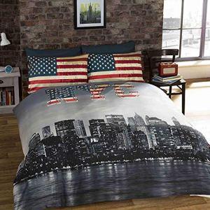 URBAN UNIQUE Copripiumino Singolo New York City Vintage Reversibile Stampa Foto NYC Multicolore