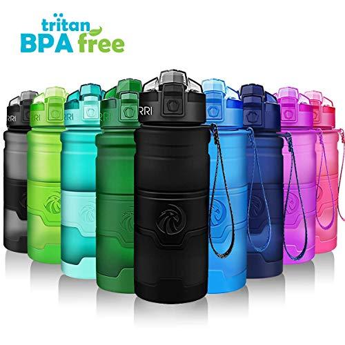 ZORRI Bottiglia dAcqua Sportiva Senza BPA  Riutilizzabile Borraccia in plastica tritan 700ml24oz Ideale Bottiglie per Bambini Scuola Ufficio Bici Calcio Fitness Yoga a Prova