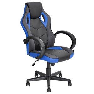 Chaise de bureau Racing en cuir PU à dossier haut ergonomique réglable pivotante – style gaming – ordinateur siège fauteuil meuble bleu