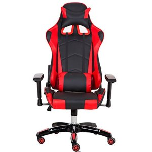 Gaming Racing PC Chaises de jeu pour ordinateur Sport Fauteuil de bureau pivotant Inclinable High Back by Gshopper® Rouge