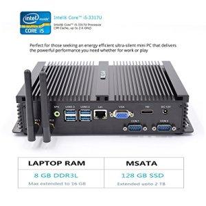 Mini PC Hystou FMP04– Fanless Core i5, PC de gaming avec Intel Core i53317U 1,7GHz 300m WiFi 8GB RAM 128GB SSD