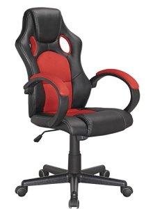 Fauteuil de Bureau Gaming Ergonomique et Confortable – Rouge et Noir – Design siège baquet – Collection Gamer