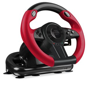 Speedlink TRAILBLAZER Racing Wheel for PS4/Xbox One/PS3/PC – Volant de Gaming (Vibration, 12 Boutons) Noir-Rouge