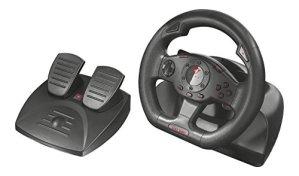 Trust Gaming GXT 580 Volant de Course avec Pédalier et Retour de Vibrations (180 Degrés Rotation, 2 Leviers, 13 Boutons)