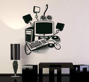 Art informatique Gamer Vinyle Stickers Muraux Salle De Jeux PC Enfants Autocollant DIY Papier Peint Autoadhésif Parfait Qualité Mur Tattoo SA923