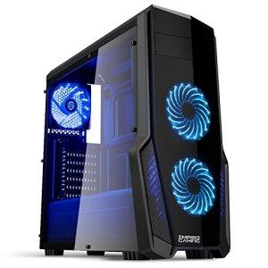 EMPIRE GAMING – Boitier PC Gamer WareFare Noir – 3 Ventilateurs LED Bleu 120 mm – Paroi latérale Transparente – Compatible ATX/mATX / mITX