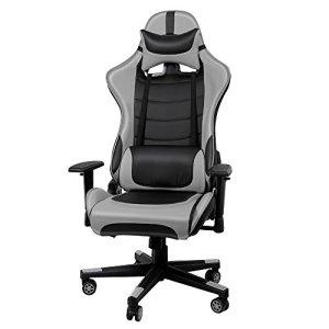 IntimaTe WM Heart Racing Chaise de Bureau en PU, Fauteuil siège Gaming avec Inclinaison de 135° Appui-tête et Soutien Lombaire Ajustable (Gris)