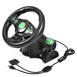 Bewinner Volant Gaming Racing, Diamètre De Course 23cm Connexion Câblée Rotation De La Direction à 180 Degrés Volant Et Pédales Gaming Vibration Racing pour Xbox 360 / PS2 / PS3 / PC