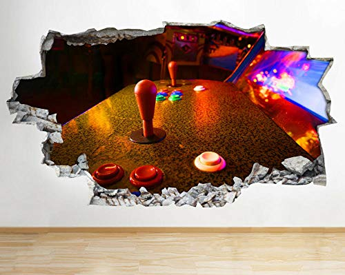 Stickers muraux Gaming Arcade Retro Arcade Smashed Sticker Mural 3D Art Autocollants Vinyle Chambre Décoration murale de chambre d'enfant