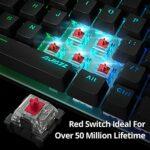 AJAZZ AK33 Clavier Gamer Mécanique Rouge Mini Clavier Gaming Red Touches Rétroéclairées RGB Personnalisable 82 Tactile Switchs Macro Anti-ghosting, Câble USB Type-C Amovible, Commandes Multimédias
