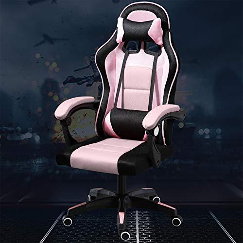 Chaise de bureau ergonomique avec soutien lombaire pour gamer – Avec appuie-tête et soutien lombaire – Pour la maison et le travail – Couleur : rose