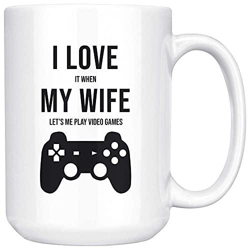NA Je l'aime Quand ma Femme me Laisse Jouer à des Jeux vidéo Mug Funny Gamer Tasse à café en céramique Blanche/Tasse à thé VDWWIG