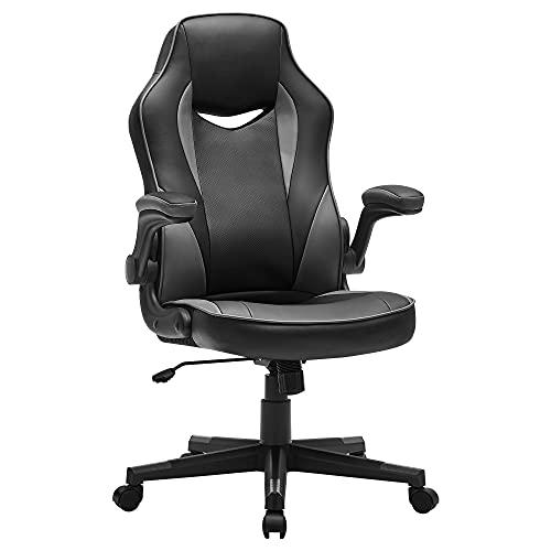 SONGMICS Chaise de bureau, Fauteuil gamer, Siège ergonomique pivotant, avec accoudoirs rabattables, hauteur réglable et inclinaison libre, charge 150 kg, Noir et Gris OBG064B03