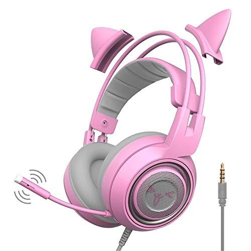 Casque de Jeu 3,5 mm USB Deep Bass Casque avec Microphone Casque Gaming for Les Professionnels Joueurs de l'ordinateur Portable Rose pour PC, Ordinateur Portable, Jeu Vidéo (Color : Pink, Size : M)