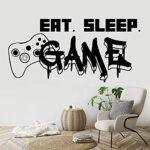 Gamer Sticker mural manger sommeil contrôleur de jeu vidéo jeu mur autocollant pour chambre vinyle stickers muraux décoration murale papier peint 49×85 cm