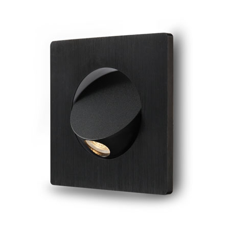 Elegante square Black recessed LED reading light