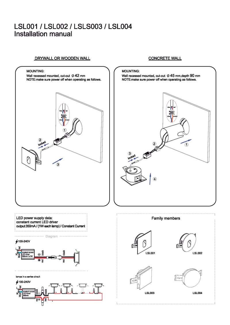 LSL003 - LSL004 LED step light installation guide