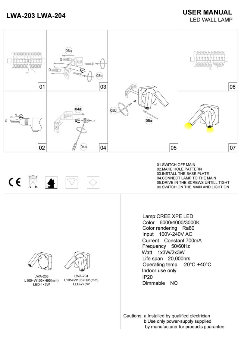 LWA203-204 LED reading light installation guide