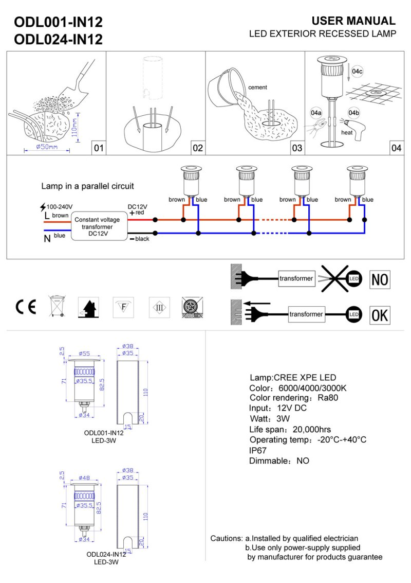 ODL001-IN12-ODL024-IN12 LED Decking light installation guide