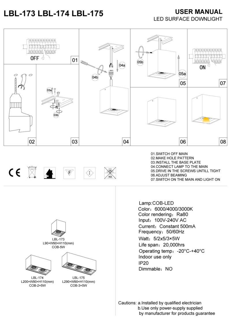 LBL-173-LBL-174-LBL-175 surface mounted LED downlight installation guide