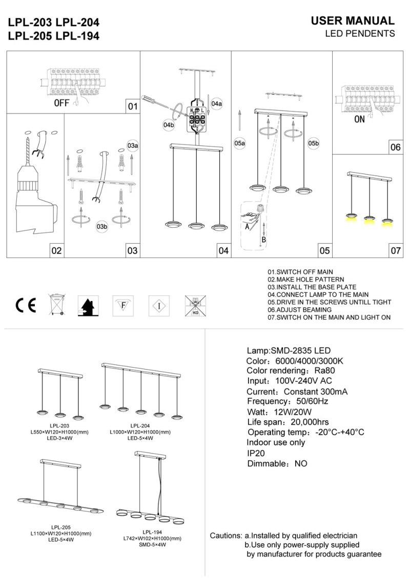 LED pendant light installation guide