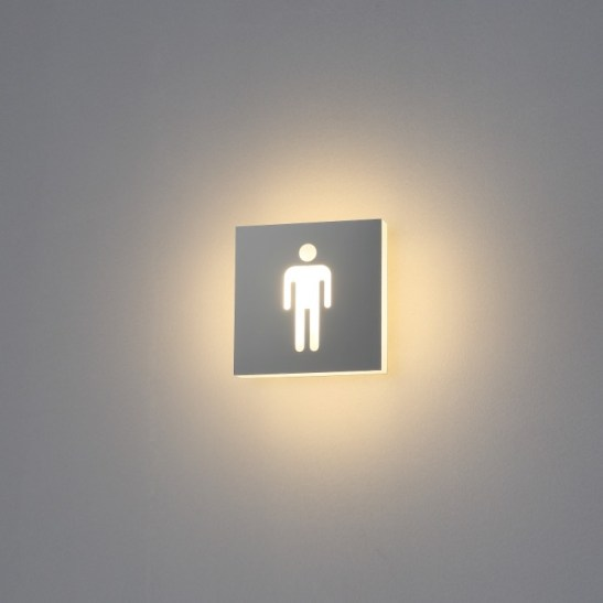 male illuminated LED toilet sign
