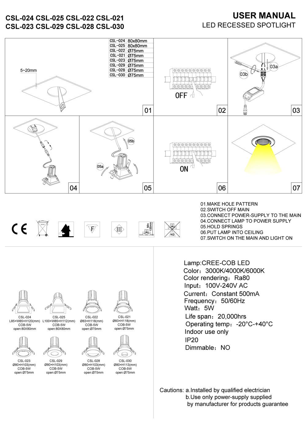 medium resolution of csl024 csl022 led downlight installation guide