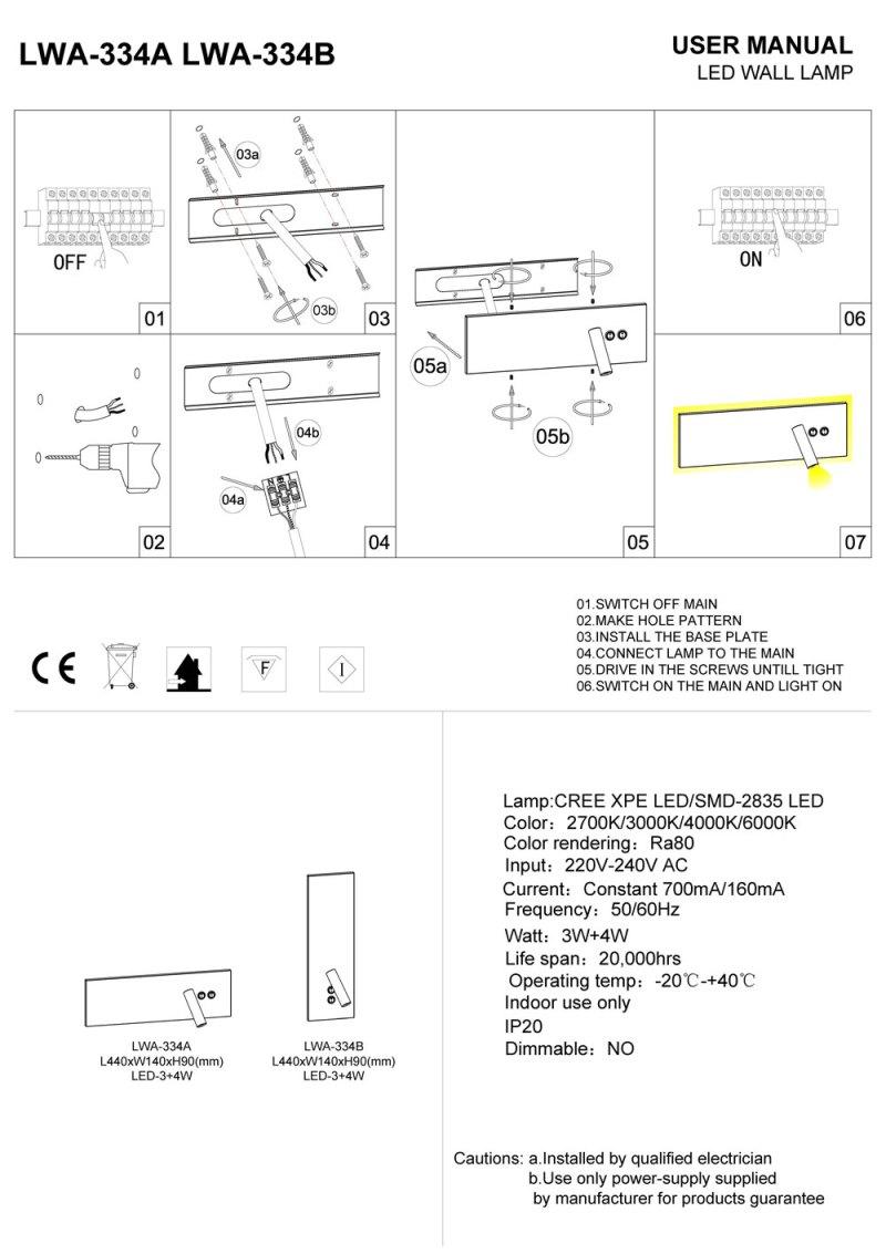 LWA-334A-LWA-334B Wall mounted LED reading light