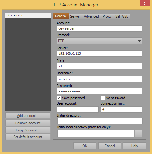 Configure FTP for UltraEdits builtin FTP client