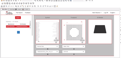 An example of a CAD library interface.