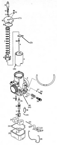 Bing 54 carburetor parts used on the Rotax 377, 447, 503