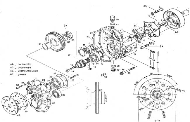 Rotax C gear box, Rotax C reduction drive, RK 400 clutch