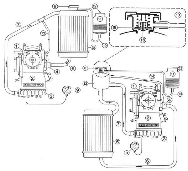 Rotax 582, Rotax 618 inverted radiator installation diagram.