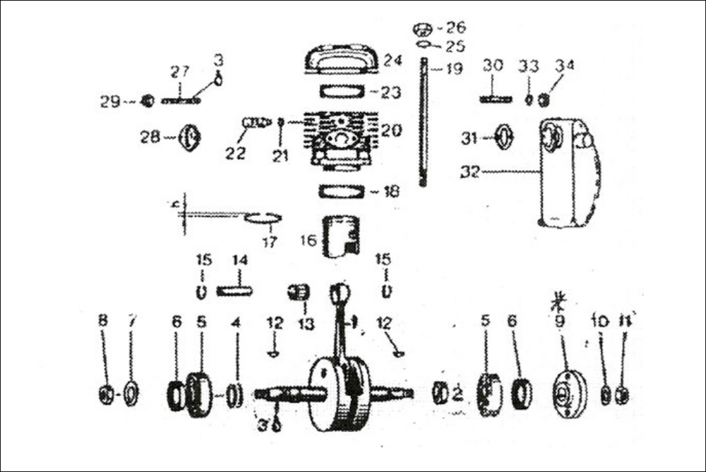 Rotax 185 CC Aircraft Engine and Magneto Parts Diagram