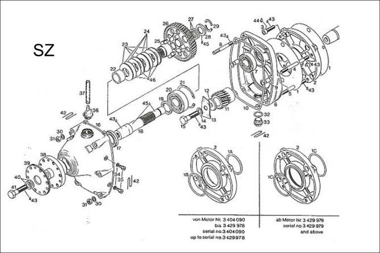 Rotax 277 A gear drive, fan cooled drive shaft offset