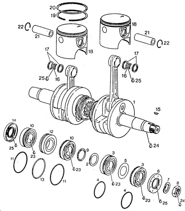 Rotax 532 pistons, Rotax 532 crankshaft, Rotax 532 rings