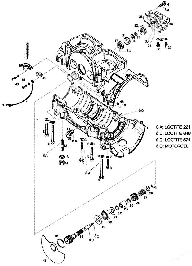 Rotax 582 Blue head rotary valve shaft, Rotax Blue head