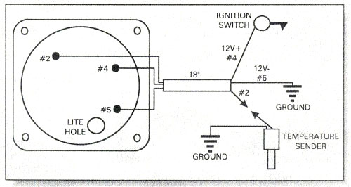 Water temperature gauge wiring diagram, Rotax 582 water