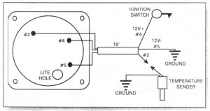 Water temperature gauge wiring diagram, Rotax 582 water