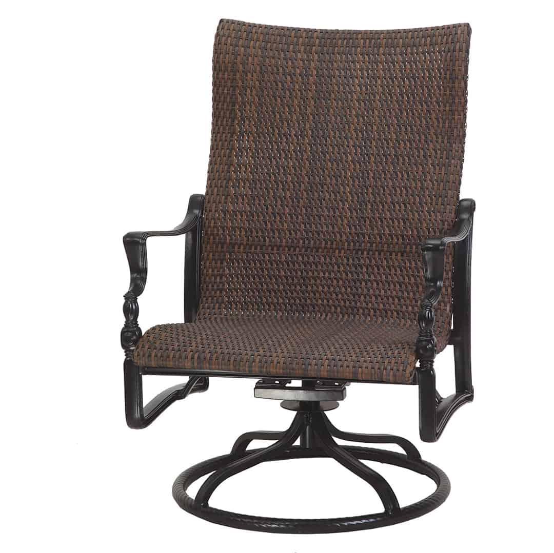 Bel Air Woven High Back Swivel Rocker Lounge Chair Ultra Modern Pool Patio