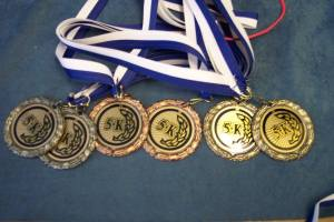 gold, silver, & bronze 5k race medals