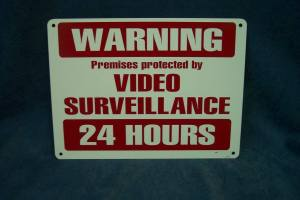 24 hour video surveillance metal sign