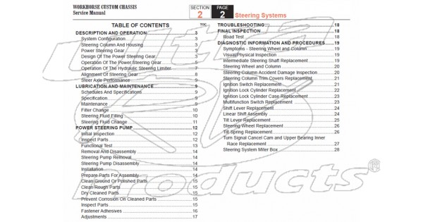 2007-2008 Workhorse R26 UFO Steering Service Manual