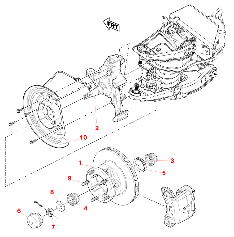 1996-2000 P32 Chassis Parts Index > FRONT AXLE