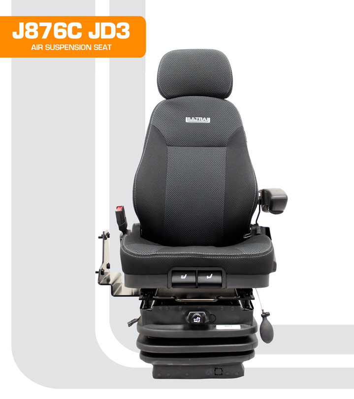 J876C John Deere Wheel Loader Seat With Joy Stick Controls In Right Hand Armrest And Double Dampers